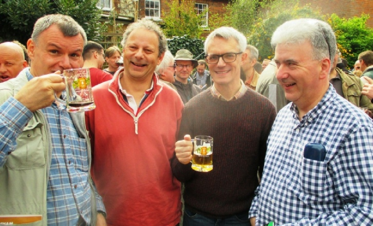 Mark Bravery, Mike Mehta, John Clarke and Kevin Desmond at this year's Beer Festival