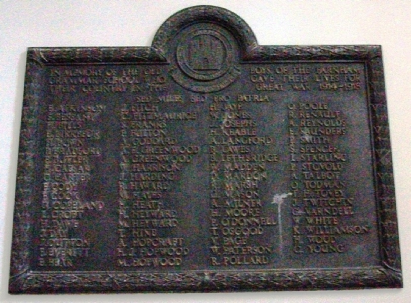 Farnham Grammar School War Memorial Plaque 1914-1918