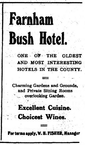 Advert for the Bush Hotel from the July 1923 edition of The Farnhamian