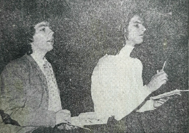 Simon Trimarco (left) as Birdboot, and Alan Watson as Moon in the Farnham College  leavers' production of Tom Stoppard's The Real Inspector Hound