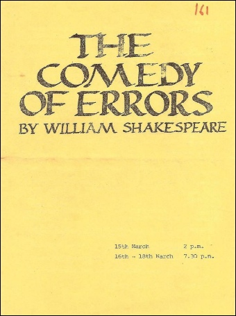 Programme cover for the Farnham College production of The Comedy of Errors 1978
