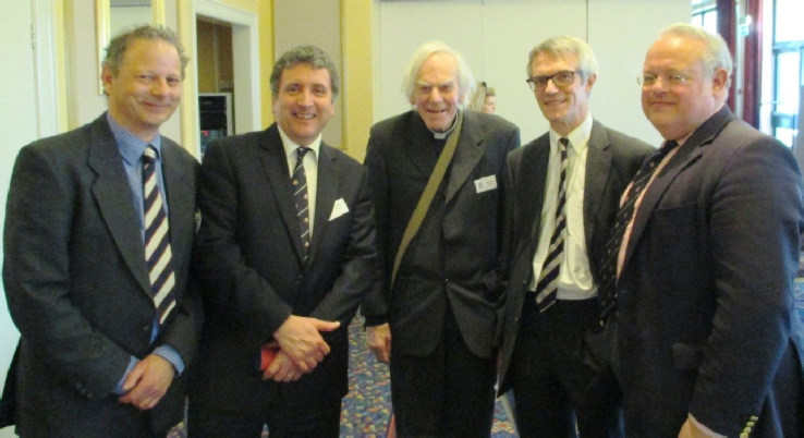Mike Mehta, Julian Walden, Rev Innes, John Clarke and Martin Collier at the Old Farnhamians annual lunch 2014