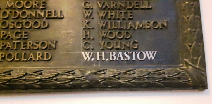 The additional lettering for William Henry Bastow supplied by Arro Signs Bournemouth for the First World War tablet in Farnham College